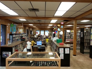 You can see pretty much the whole library from here, except the computer area behind me to the right.