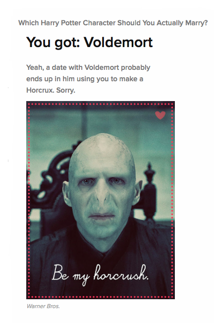 Which Harry Potter Character Should You Actually Marry? Voldemort