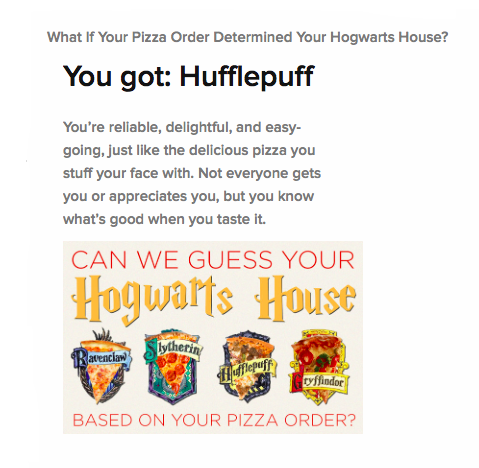 What If Your Pizza Order Determined Your Hogwarts House? Hufflepuff