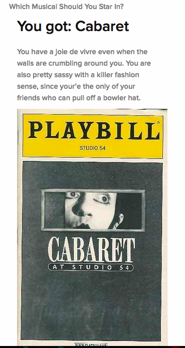 What Musical Should You Star In? Cabaret
